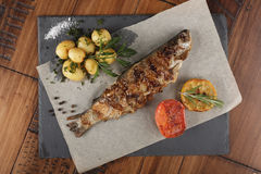 Trout fish fried. With young potato on slate surface. wooden background Royalty Free Stock Images
