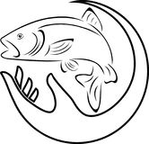 Trout, fish and hand, fish and fishing logo. Water sports, fish sign, fish label Royalty Free Stock Photo