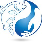 Trout, fish and hand, fish and fishing logo. Water sports, fish sign, fish label Royalty Free Stock Photography