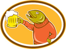 Trout Fish Holding Beer Mug Oval Cartoon Stock Images