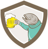 Trout Fish Holding Beer Mug Shield Cartoon. Illustration of a trout fish holding beer mug viewed from the side set inside shield crest on isolated background Stock Image