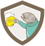 Trout Fish Holding Beer Mug Shield Cartoon Stock Image