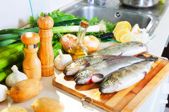 Trout Fish In Home Kitchen Royalty Free Stock Photos