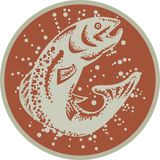 Trout Fish Jumping Retro. Illustration of a trout fish jumping set inside circle on isolated white background done in retro style Royalty Free Stock Image
