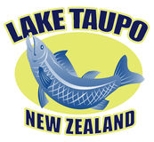Trout fish lake taupo new zealand. Retro style illustration of a Trout fish jumping side view with words lake taupo new zealand Royalty Free Stock Photo