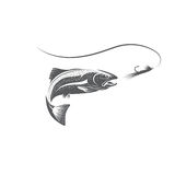 Trout fish and lure vector design. Template Royalty Free Stock Photography
