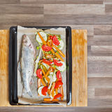Trout fish prepared for cooking Royalty Free Stock Image