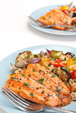Trout Fish with Roasted Vegetables and Cous Cous Stock Photo