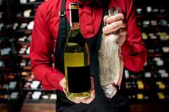 Trout fish with wine Royalty Free Stock Images