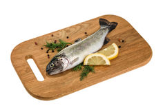 Trout fish on wooden board isolated without shadow.  Stock Photo