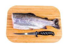 Trout fish on wooden plate isolated on white background. Rainbow trout fish commercial composition Stock Photography