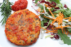 Trout fishburger with tomato sauce and salad Stock Images