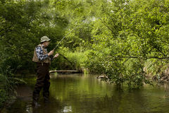 Trout fishing Stock Photography