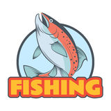 Trout fishing banner Stock Images