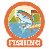 Trout fishing banner Stock Photo