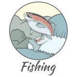 Trout fishing banner Royalty Free Stock Image