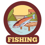 Trout fishing banner Royalty Free Stock Images