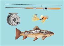 Trout fishing equipment Royalty Free Stock Photo