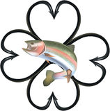 Trout fishing hooks. Fishing hooks in the shape of clover with trout Stock Image