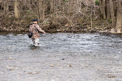 Trout Fishing. Roanoke County, VA – March 18th: Fisherman fishing for trout on the Roanoke River off the Roanoke Valley Greenway on March 18th, 2017, Roanoke Stock Photography