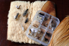 Trout Flies. Assortment of hand made trout flies for fly fishing Stock Photo