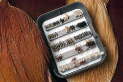 Trout Flies. Assortment of hand made trout flies for fly fishing Stock Images