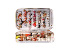 Trout flies in a box Royalty Free Stock Images