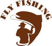 Trout Fly Fishing  Retro Royalty Free Stock Images