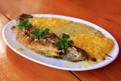 Trout fried with banusz and mushroom soup. Tasty dish royalty free stock photo