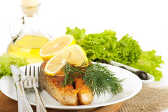 A trout is fried with a lemon Stock Photo