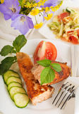 A trout is fried with a pepper Royalty Free Stock Images