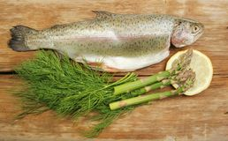 Trout and herbs Stock Photo
