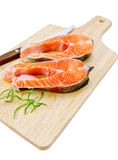 Trout with a knife and rosemary Royalty Free Stock Images