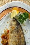 Trout with lemon Stock Photography