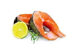 Trout with lemon and rosemary Royalty Free Stock Image