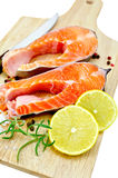 Trout with lemon and salt Stock Images