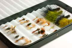 Trout Lures In Fly Box Royalty Free Stock Photography