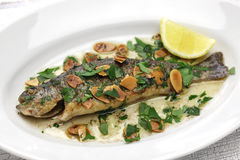 Trout meuniere amandine Stock Images