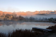 Trout pond in the mountains. Holiday trout farm in the mountains Royalty Free Stock Images