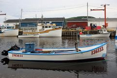 Trout River Fishing Boats Stock Photography