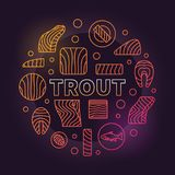 Trout round colored illustration. Vector red fish meat symbol. Trout round colored illustration. Vector creative symbol made with fish fillet, steak linear icons Royalty Free Stock Photos