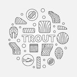 Trout round minimal illustration. Vector red fish concept symbol. Trout round minimal illustration. Vector circular symbol made with trout fillet, steak and Royalty Free Stock Photo