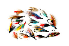 Trout and Salmon Fishing Flies on White Stock Photo
