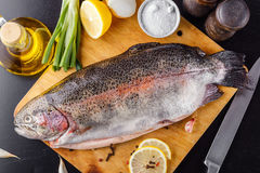 Trout spent raw on a cutting wooden board with spices, herbs, salt and olive oil. Top view Royalty Free Stock Photos