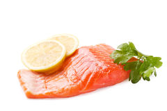 Trout steak. Fresh red trout fish steak Royalty Free Stock Photography