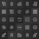 Trout steak and fillet icons - vector salmon red fish symbols. Trout steak and fillet minimal icons - vector salmon red fish concept symbols in thin line style Stock Photos