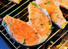 Trout steak fried on grill. Stock Photo