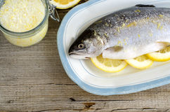 Trout stuffed with lemon slices and seasoned with aroma sea salt with lemon peel Royalty Free Stock Photography
