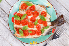 Trout, Tomatoes and Basil Royalty Free Stock Photo