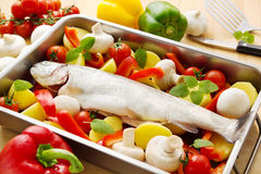 Trout with vegetables stock photos